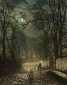 John Atkinson Grimshaw, Moonlit Lane, 1873